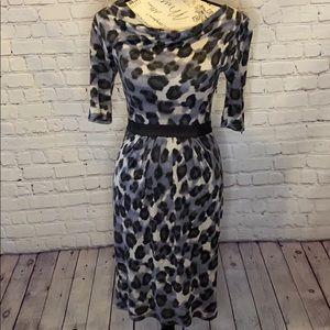 Banana republic Leopard pleated 3/4 sleeve dress 0